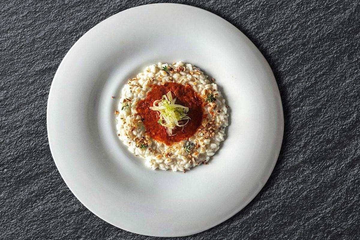 Risotto al gorgonzola dolce con carpaccio di 'nduja